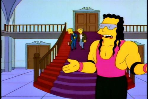 TV Show: The Simpsons Episode: The Old Man and the Lisa (Season 8, Episode 21) Air Date: 4/20/1997 Wrestler(s) captured: Bret 'The Hitman' Hart (voicing as himself) IMDB Page: The Simpsons - The Old Man and the Lisa