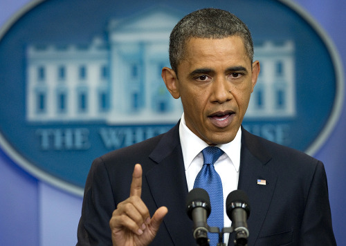 nationaljournal:  PHOTO OF THE DAY: President Obama speaks during a news conference in the Brady Press Briefing Room at the White House on Monday. Obama was due to meet with Congressional leaders for the second straight day Monday, after 75 minutes of talks Sunday evening failed to reach an agreement on the debt limit. (PHOTO: SAUL LOEB/AFP/GETTY IMAGES)