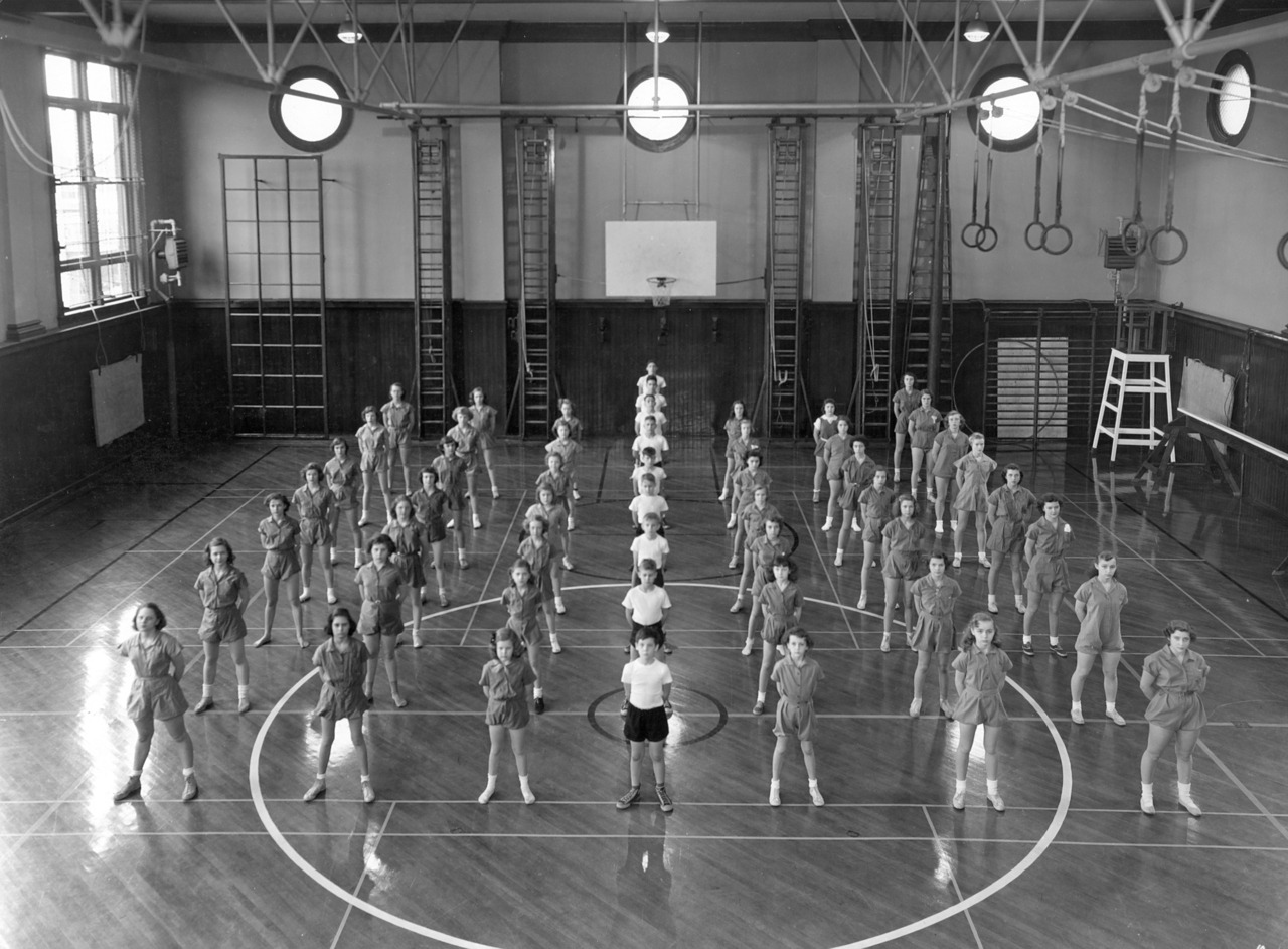 A disciplined children's gym class at the Athenaeum in Indianapolis, ca. 1960.  ed: Lee Little and I dug this up at the IUPUI University Library Special Collections and Archives. He's interning for the Kurt Vonnegut Memorial Library.