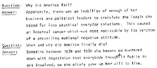 "Part of a history quiz imagined by Roger Ailes from a 1971 thesis entitled ""Candidate + Money + Media = Votes"" from a dump of Nixon era documents unveiled by Gawker in Roger Ailes' Secret Nixon-Era Blueprint for Fox News. Just before this, we have Ailes explaining:  The biggest problem today, I believe, is communication on all levels. Before print and before radio and television there was some excuse for this failure. Today there is none. And the self-perpetuating symptom of this disease is a completely negative attitude about ourselves and our system. America has a cancer. Cancer is usually fatal, but it doesn't have to be if it is discovered and treated in time. Well gentlemen, we as a nation have it, we have positively identified it. There may be time, but our national life depends on our ability to use our technical knowledge to cure the ills of the country and upon our refusal to be caught up in this negative attitude about our system. In other words it must exhibit and communicate an unbending will to live. Without these things America will be nothing more than a history lesson in a student-run college of the twenty-first century.  Emphasis mine. If the constellation of evidence pointing to Fox news as a vanguard of GOP propaganda isn't already clear, these early remarks appear to demonstrate a near evangelical verve ""to translate the ideals"" in combat with, as Agnew put it, the ""nattering nabobs of negativism"" and the ""effete corps of impudent snobs who characterize themselves as intellectuals"". The only thing that separates Ailes from the Diana Christensen in Network is that he believes in something. - CZ"