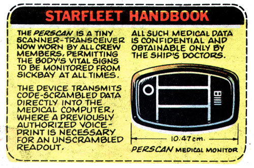From the Sunday, April 13, 1980 installment of the Star Trek newspaper strip, written and drawn by Thomas Warkentin.(And now you know what those things were.)