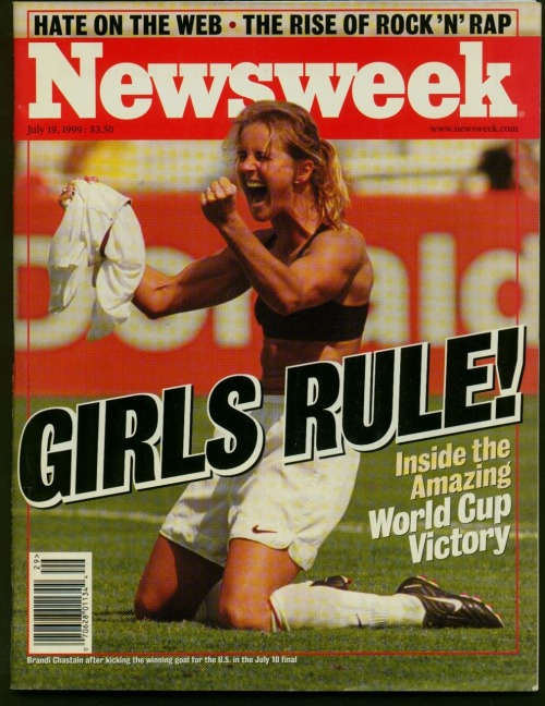 "Today in Newsweek archives: Girls Rule! Yesterday's dramatic penalty shootout win over Brazil in the semifinals of the 2011 FIFA Women's World Cup marked the 12th anniversary of this iconic 1999 image, showing defender Brandi Chastain (now an ESPN commentator) just seconds after she secured the penalty for the World Cup win against China (the second win in U.S. history). At the time, international interest in women's soccer was at an all-time high—and the celebrated match against China was the most-attended women's sporting event in history. Chastain called it ""the greatest moment of my life on the soccer field. The U.S. is set to face France on Wednesday."