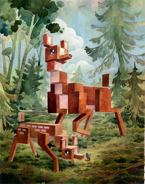 I have nothing funny to say about this. This is an awesome painting of cubed deer.