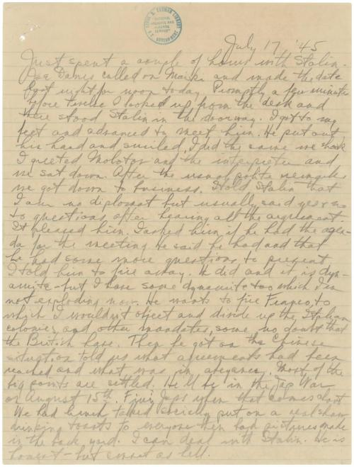 "todaysdocument:  Notes by Harry S. Truman on the Potsdam Conference, July 17, 1945 On July 17, 1945, two months after Germany surrendered to the Allies at the end of World War II, President Harry S. Truman came face to face with Marshal Joseph Stalin of the Soviet Union, one of the most brutal autocrats of all time, a meeting recounted in this page from Truman's diary. The night before this meeting, Truman learned that the United States had successfully tested the world's first atomic bomb, which may explain his diary's cryptic reference to ""dynamite.""  Here's an image of Stalin, Truman, and Great Britain's Prime Minister Winston Churchill.  The leaders of the three largest Allied nations were gathered to discuss the political future of Europe and the state of the war still raging in the Pacific."