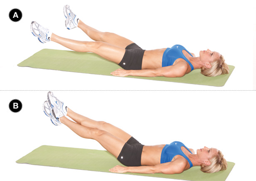 atalantefit:  See your lower abs faster with this workout. SCISSOR Target Muscles: rectus abdominis, transverse abdominis, obliques Set up: Lie on your back on a mat with your arms extended by your sides or tuck your hands beneath your lower back [A]. Action: Lift your feet off the floor and slowly open your legs [B], then cross your right ankle over the left; open and cross in the other direction for one rep. Do three sets of 20 reps on both sides or until failure.