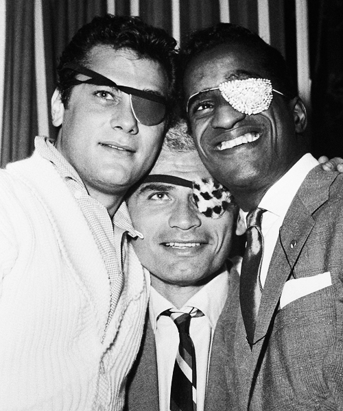 Tony Curtis, Jeff Chandler and Sammy Davis Jr. at one of Sammy's comeback shows, 1955.