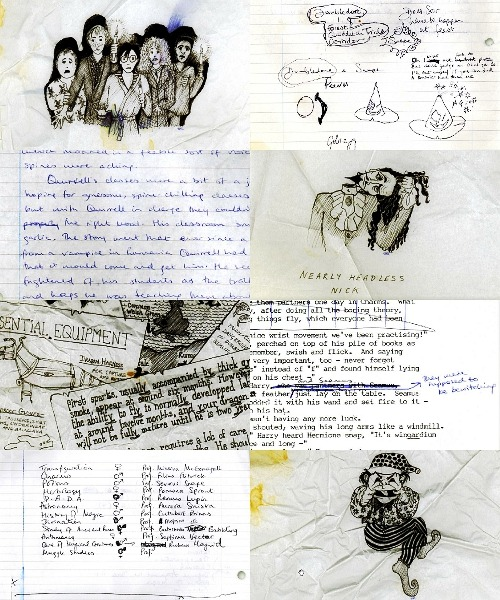 miakosamuio:  Scraps and drafts of Harry Potter by Jo Rowling.