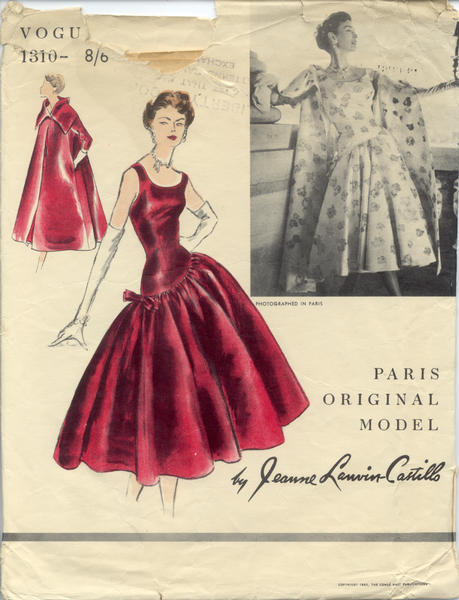 Vogue pattern by Jeanne Lanvin, 1955