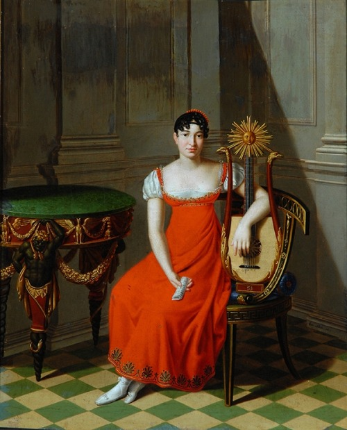 Lady with a Harp Lute by Pietro Nocchi, 1811 Italy, the Bowes Museum