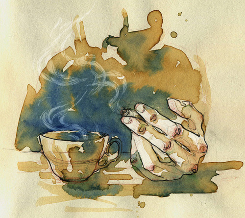 coffeepeople:  coffee & watercolours. by Adara . on Flickr.