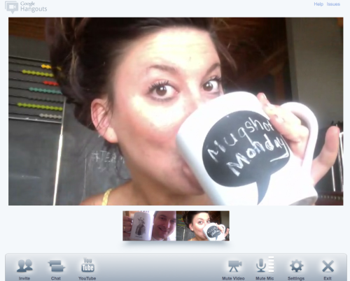 Ha! Tried my first Google+ Hangout today — by chance, it happened to be with Lisa Frame — she also does a Mugshot Monday project. First evar DUAL Mugshot Monday! And on a Monday even. FTW!