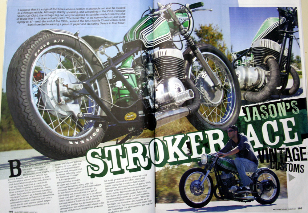 Vintage Customs at your local news-stand! My '70 Suzuki T500 racer is a featured article in the newest August Issue of B.S.H. magazine (issue 328, pictured below).  B.S.H., a UK publication, can be found at many larger book stores here in the US!