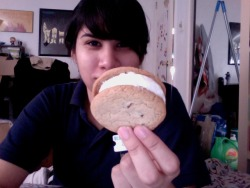 chocolate chip ice cream sandwich for breakfast at 4pm right before worki r00l at being 23.