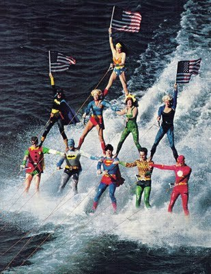 albotas:  Justice League water skii pyramid pic from the 1970's at Sea World in Orlando, FL. (via I've had dreams like that)
