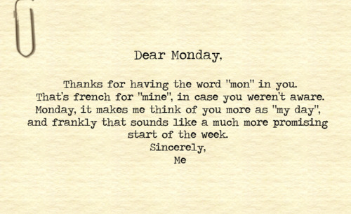 Case of the Mondays? (via cool, day, funny, monday, text, typewriter - inspiring picture on Favim.com)