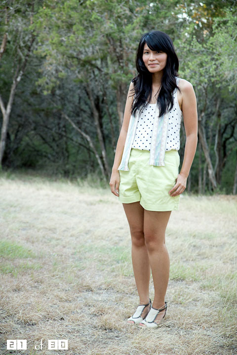 2011. summer remix: track 21. joie alicia tank. liz claiborne shorts and southwestern sash (thrifted). acrobatic wedges from anthropologie. i love the neutral toned pattern on this sash, but being a perfectionist, i can't decide how to wear it. it works as a thin scarf or a wide belt. for the time being, i am pretending it's a very skinny vest or unusual suspenders. okay, it's a stretch. when you're outdoors taking pictures under the curious eyes of children on scooters and dads on doggie duty, an unstyled sash is better than nothing. the look | similar tank | similar shorts | similar wedges