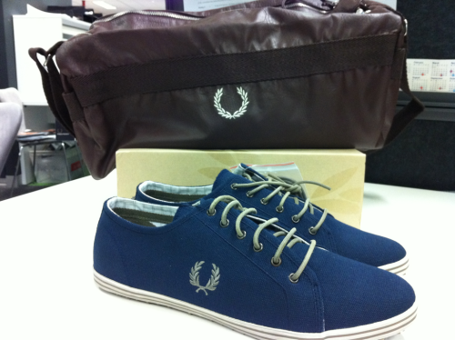 Fred Perry Kingston Heavy canvas shoes.  beautyboudoir:  Fred Perry deconstructed barrel bag and Kingston Heavy canvas shoes.