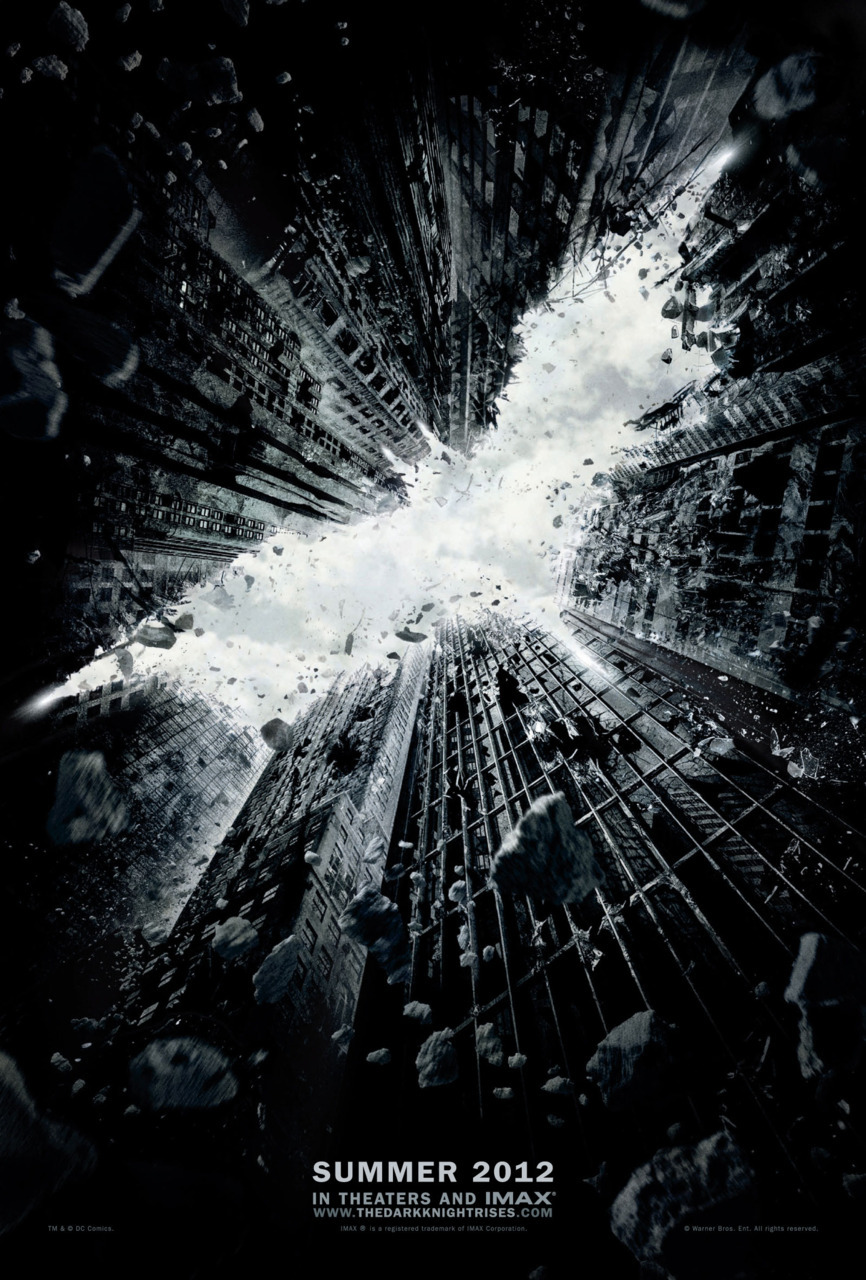 andykhouri:  The Dark Knight Rises Teaser Poster Rises. High-res version at ComicsAlliance.  Holy fucking shit I pretty much lost my shit over this. My co-worker likes to note that I change my work computer's background like, every other week, and it looks like we're coming up on another change. I might just go hang out at Carnegie Mellon this week. I'll say one thing though: I want to know who designs Nolan's posters, it isn't Olly Moss is it? They are consistently the best.