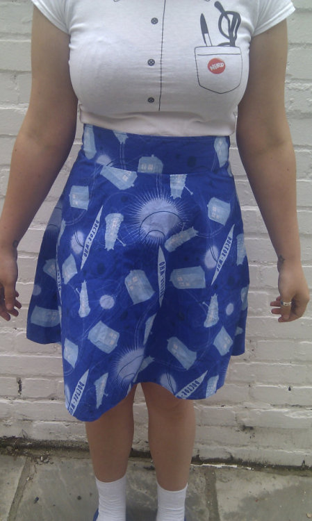 (via Doctor Who Ladies High Waisted A Line Skirt by sweetcheeksstitches)