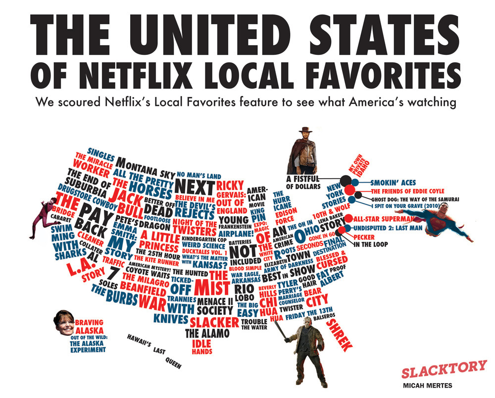 via motherjones: laughingsquid:   The United States of Netflix Local Favorites   Welcome to the Internet, Slacktory!