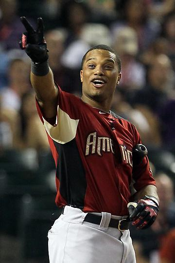 Robinson Cano obviously enjoying himself at the 2011 MLB All Star Game Home Run Derby. And why wouldn't he? He ended up winning the whole damn thing!
