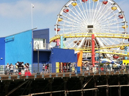 Can you find Mickey and Minnie on the Santa Monica Pier? I guess even cartoon mice like the beach. Photograph by me. July 2011.