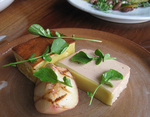 foie gras terrine, grilled peach, + cornbread at hapa ramen popup  (by foodiehunter)