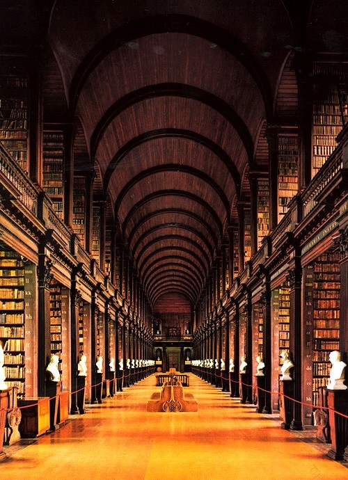 The Long Room of Trinity College Library in Dublin, Ireland
