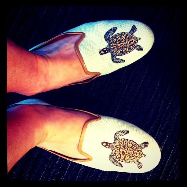 Shoes Stubbs & Wootton  by lauren  Today is a perfect day for slippers.  What's even more important and auspicious about these slippers is that I stole them from my mom, which means they were free.  Five finger discount at its finest.  Stole might be a bit harsh because technically I offered to steal them and then she offered to give them to me.  Important life lesson – always offer to steal things first & then maybe you will be rewarded for your generosity.  So about these slippers.  They are really comfortable and they have turtles on them & they are super cute.  I wore them with a bright blue Kate Spade Isle skirt, white & blue striped theory shirt, and a pink Gap cardigan. In the past I've worn these with my floral A&O waisted play shorts and a Madewell knit sweater. I like them because they can add a preppy OR a funky twist.    Check out the entire Stubbs & Wootton collection here.  They are really more versatile than you'd think!