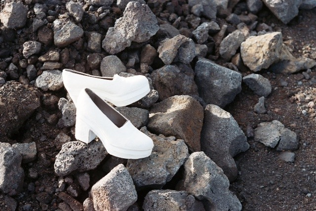 Photo by Ellie Campagna. Calvin Klein shoes. On   location in Iceland for W's August 2011 cover shoot with  Tilda  Swinton. Click here to watch Planet Tilda, a short film inspired by the August cover story directed by Tim Walker.