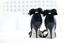 Wonderful black wedding heels w/bow