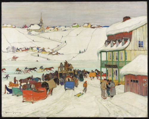 artgalleryofontario: Horse Racing in Winter, Quebec, c. 1925 Clarence Alphonse Gagnon (Canadian)Painting, oil on canvas, 104 x 130.8 cm Gift from the Reuben and Kate Leonard Canadian Fund, 1927