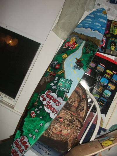 Cool longboard my buddy painted. matthewskateart:  This is a longboard I painted for my friend Tim. Gotta do some more of these badboys.