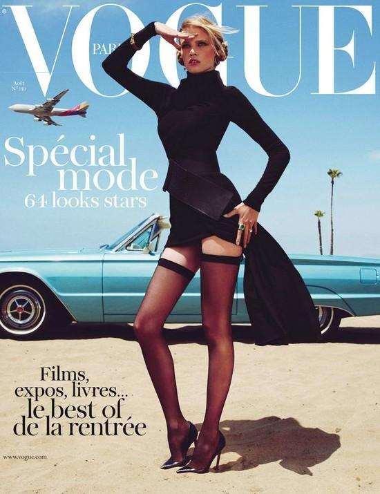 Here is Lara Stone looking lovely on the cover if the August 2011 issue of Vogue Paris.