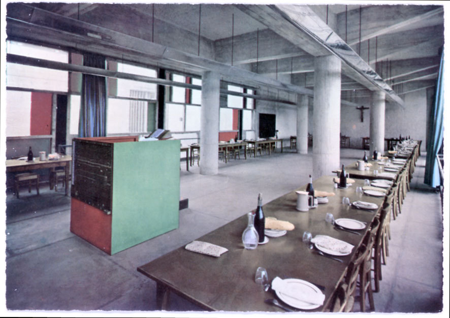 mess hall at la tourette via architecture de cartes postales. click the link for a whole article on the subject, and a website full of treasures.
