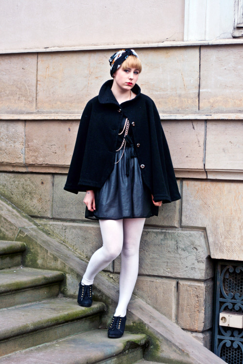 White opaque tights with handmade cape in Berlin.