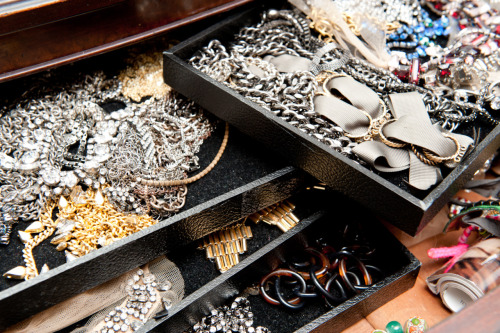 Our Accessories Editor Maria Dueñas Jacobs' tangle of jewels. Believe it or not, there's a method to this madness! Photo: Courtesy of The Coveteur