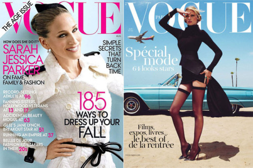 Vogue US featuring SJP vs. Vogue Paris featuring Lara Stone: Which one gets your vote?? Be sure to vote on the rest of August's glossy covers in our latest edition of Cover Wars!
