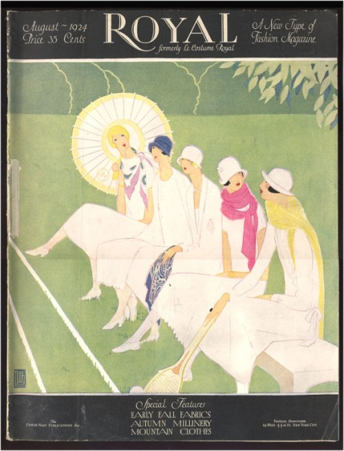 Chic women decked in white watch a tennis match on the August 1924 cover of Royal magazine.