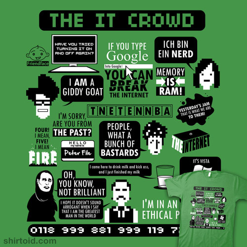 This great IT Crowd Quotes T-shirt design by Tom Trager is available to buy over at his RedBubble page! It can also be bought in other colours but I think the green looks best because it goes with the show intro