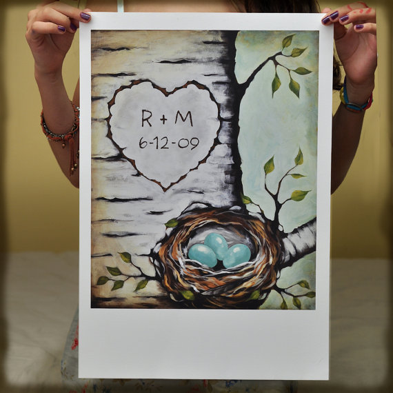 (via Great Big Beautiful Custom Love Nest Print by thePaintedSky) Well if Dylan needed advice for an anniversary present, he should look no further than here. Too bad he doesn't realize I have a blog. Traditionally the first anniversary gift should be paper, so any of these prints would be perfect!