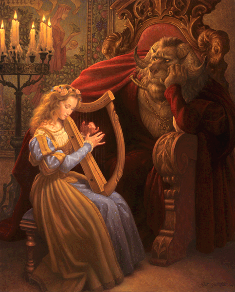 "banishnight:    Every evening the Beast comes to visit Beauty in her chamber, to talk with her and be near her. Tonight, as she sweetly plucks the harp strings, her mind wanders home to her father and sisters she misses so terribly. He, on the other hand, can think only of her. Every night before he leaves, this longing for her wells up and consumes him and he is compelled to ask, ""Beauty, will you marry me?""  And every night her answer is the same: ""Even though I have grown to care for you very much, Beast, I do not love you. I am sorry, but no, I cannot marry you.""   He exhales his grief in a deep sigh that echoes like a moaning wind through the palace corridors. Neither of them is aware at this moment that a bond has grown between them. Nor do they know what miracles the love they share will ultimately reveal.   Illustration by Scott Gustafson"