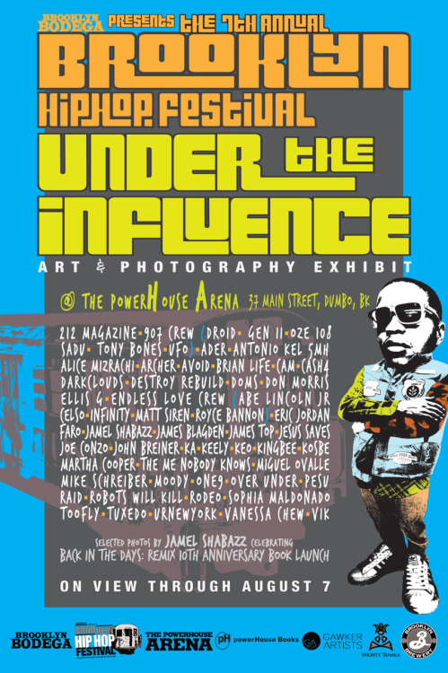 "The @BkHipHopFest, ""Under The Influence"" art opening today is today!  The Brooklyn Hip Hop Festival is July 11-16 but the show will be up at PowerhouseArena Untill August 7th.   This got RE-hung:  If you missed the 907 crew Pantheon Mural when it was hanging in midtown nows a great chance to check it up close. It will be hanging inside the Powerhouse bookstore for the next month or so. Come, get close, and smell the insides of a UFO.  There's also little pieces from the whole crew including an amazing sculpture by Gen2 made of copper pipe, moss and miniature people, nice drawings and paintings from the rest em'. (More pictures comin' soon) Check the line up:  UNDER THE INFLUENCE Artists: 212 Magazine, 907 Crew (UFO, SADU, DROID, Tony Bones, OZE 108 and GEN II), Ader, Antonio Kel 5MH, Alice Mizrachi, Archer, Avoid, Brian Life, CAM, Cash4, Darkclouds, Destroy Rebuild, DOMS, Don Morris, Endless Love Crew (Royce Bannon,Matt Siren, Celso, Infinity, Abe Lincoln Jr), Ellis G, Eric Jordan, FARO, Jamel Shabazz, James Blagden, James Top, Jesus Saves, Joe Conzo, John Breiner, KA, Keely, KEO, KingBee, Kosbe, Martha Cooper, Miguel Ovalle, Mike Schreiber, Moody, ONE9, Over Under, Pesu, Raid, Robots Will Kill, Rodeo, Sophia Maldonado, TMNK, Toofly, Tuxedo, URNewYork, Vanessa Chew and ViK."