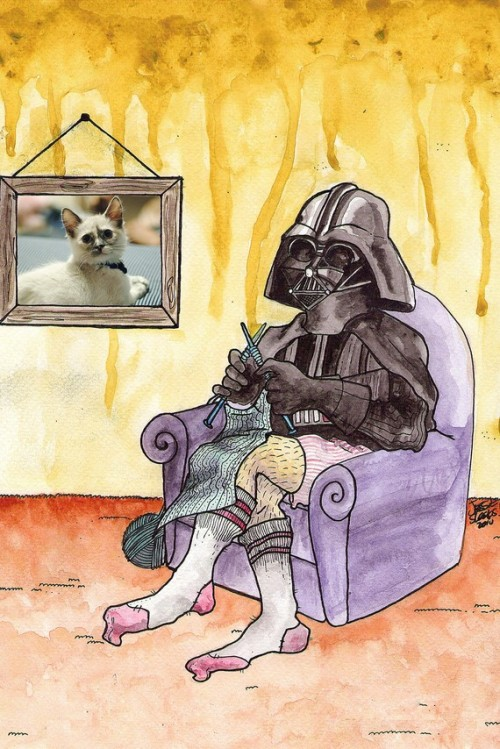 "tiefighters:  Vader Knits - by jessieshungry Prints available here.  ""jjenniiferr reblogged this from tiefighters and added: VADER DOESNT HAVE LEGS. WTF IS THIS SHIT."" Perhaps they're just decorative pajama pants created to make him feel like he has legs? C'mon, guys! It's just for funzies."