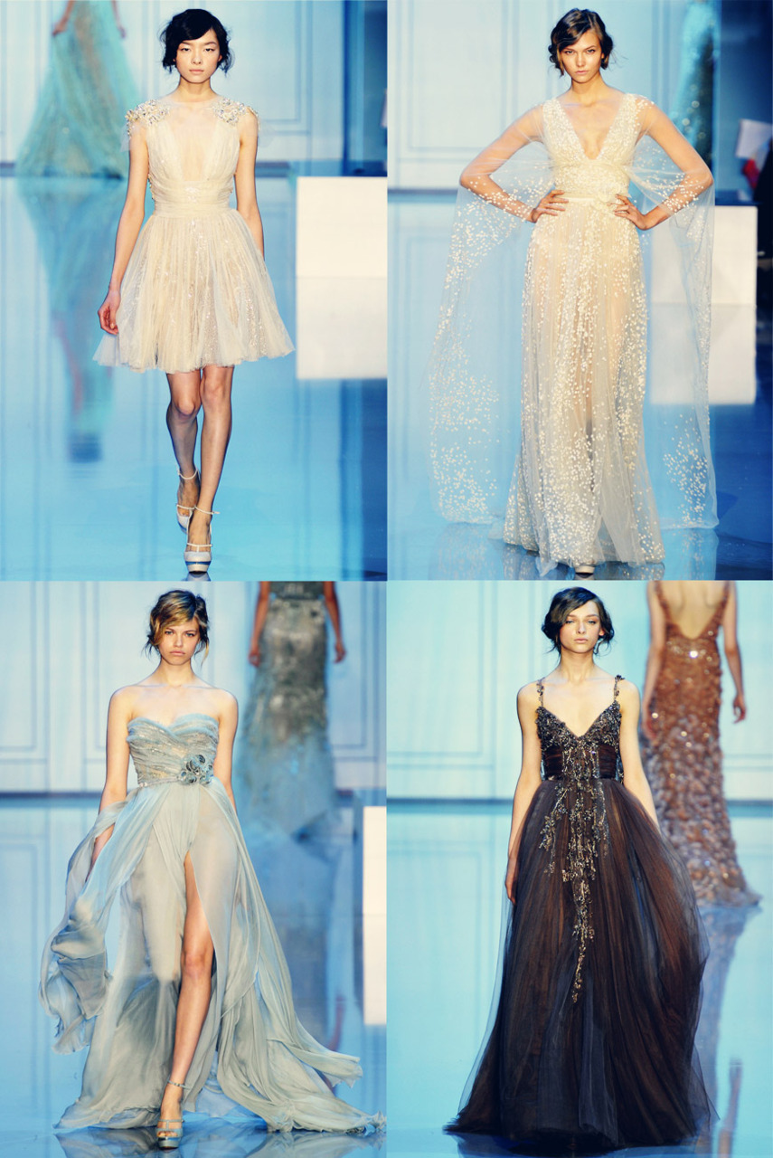 I am LOVING Elie Saab's Fall 2011 Couture Collection. Their makeup and hair just adds to the ethereal beauty of the dresses. LOVE! (images via vogue.fr)