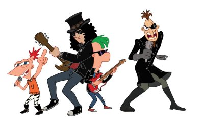 "musicisyouronlyfriend:  ""Here is an image from the Phineas & Ferb video/single, ""Kick it up a notch,"" coming out next week."" - Slash's facebook"