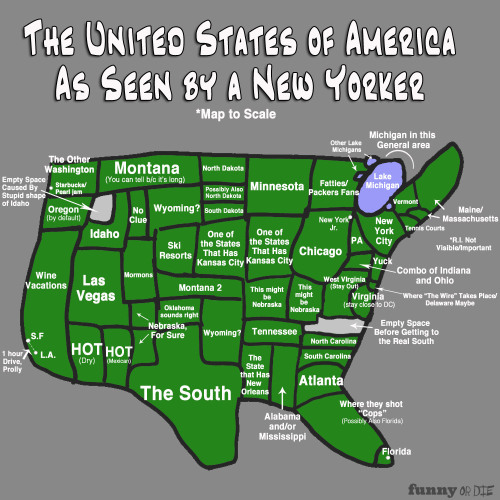 laughingsquid:  Map of America as Seen by a New Yorker