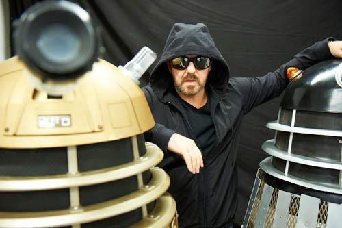 "doctorwho:  Doctor Who and the Daleks to Appear on Ricky Gervais Comedy Life's Too Short?  Here's a little bit of cryptic news for you: Ricky Gervais is meeting Doctor Who in his upcoming comedy Life's Too Short. According to a post made on Gervais's website, ""Details are under wraps, but Ricky has filmed a little something for sci-fi nerds everywhere."" ""This time,"" the post continued, ""Who meets Ricky on Life's Too Short."" Life's Too Short, for those who don't know, is the upcoming comedy from Ricky Gervais and Stephen Merchant, the creators of The Office and Extras.  The series will star Warwick Davis as a fictional version of himself  who deals with the difficulties, both socially and otherwise, of being a  dwarf actor. It should be easy to work Doctor Who into there somewhere, especially considering that it won't be the first time that Ricky's worked Doctor Who into one of his shows. The Extras Christmas special featured Ricky's character Andy  Millman reluctantly taking a role on the British sci-fi series after  quitting his job on a successful sitcom. Millman played a giant space  slug who faced off against the Tenth Doctor (David Tennant) and was  eventually defeated by table salt.   Is it wrong that as soon as it said Steven Merchent, I had this image of Wheatley trying to defeat the daleks with his vast intellect.  ""Say apple."" ""EXTERMINATE!"" ""What you did there is you killed someone… so…"""