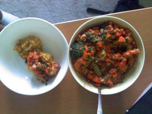 This was my dinner (sorry for the blurry quality!). Vegetable rotini and chickpea 'patties'. It was made of all kinds of vegetable-y goodness and had a whopping 32g of protein (mainly from the chickpeas)! Who says vegetarians don't get enough protein??