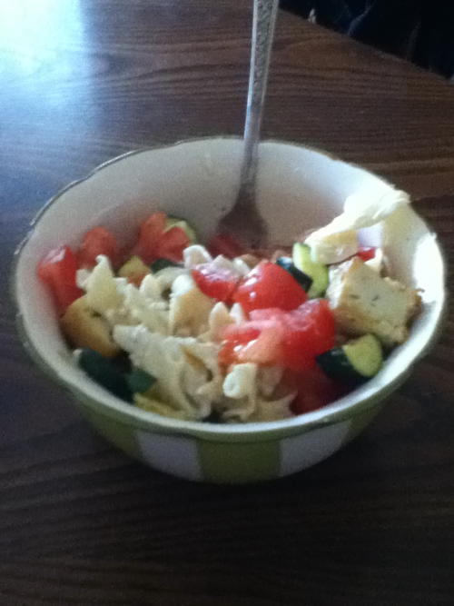 I devoured this.  Tofu stroganoff with zucchini and tomatoes.   SO GOOD.